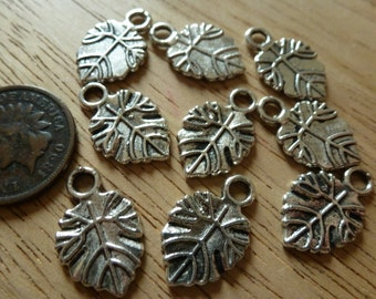 9 Antiqued Silver Leaf Charms C37