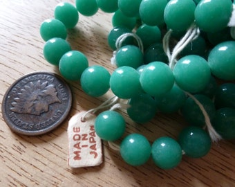 24 Vintage Japanese 8mm Jade Green Glass Beads C37