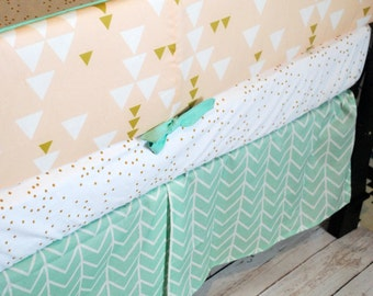 BLUSH, MINT and GOLD Tribal-Custom Crib Bedding-3 piece