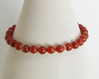 Hand Knotted Carnelian and Sterling Silver Bracelet