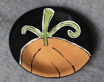 hand painted pottery, bowl, pumpkin