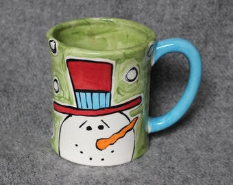 hand painted pottery, snowman, winter, snow, mug