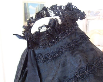 antique victorian mourning cape, tattered elegance, gathered ruffle stand up collar, jet beading, costume wear, halloween party