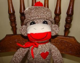 New Long Red Heel Sock Monkey Doll