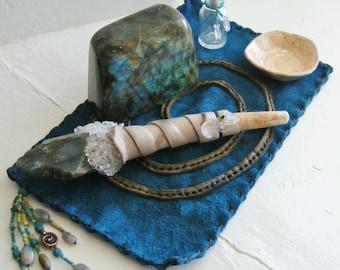 TRANSFORMATION personal 5 piece MINI ALTAR, Labradorite, Crystal Wand, Wicca, Shaman, Talisman, Prayer, Mesa, Shrine