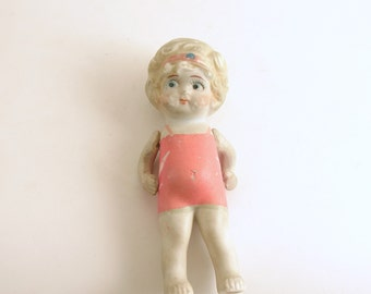 Antique Frozen Charlotte Miniature Doll Pink Swimsuit Bisque Hand Painted Face