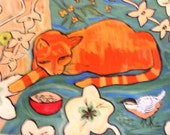 floorcloth painted rug orange cat bird teal blue orange art for the floor funky floor mat