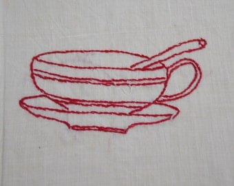 Vintage Redwork EMBROIDERY Square Quilt Pillow Frame 1950s Needlework Stitchery Coffee Cup Bowl