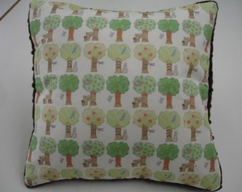 Tree Grove Decor Pillow Sham with Brown Minky Back 14 x 14 READY TO SHIP On Sale