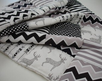 Mosaic Deer and Arrows Black Gray White Minky Comforter Blanket 32 x 44 READY On Sale
