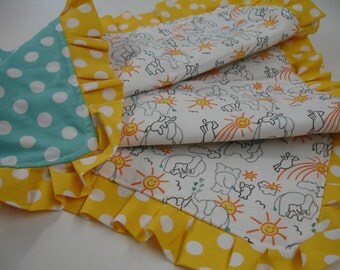 Elephants You Are My Sunshine White Yellow Aqua Ruffled Baby Blanket 25 x 35 READY TO SHIP On Sale