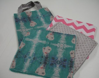 Calypso in Plumage Teal Travel Tote Bag and Quick Wipe Handkercheif Set READY TO SHIP Clearance Sale