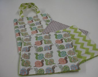 Buggy Eyed Snails Travel Tote Bag and Quick Wipe Handkercheif Set READY TO SHIP On Sale