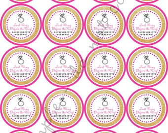 "INSTANT DOWNLOAD / Last Fling Before the Ring Bachelorette Party Weekend 2"" printable Party / Cupcake Topper / Stickers / Thank You Tag"
