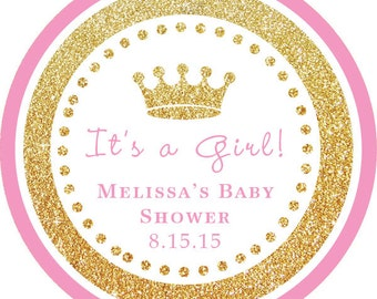 It's a Girl! Gold Glitter Pink Crown Baby Shower Thank You PERSONALIZED Stickers, Tags, Labels, or Cupcake Toppers, various sizes