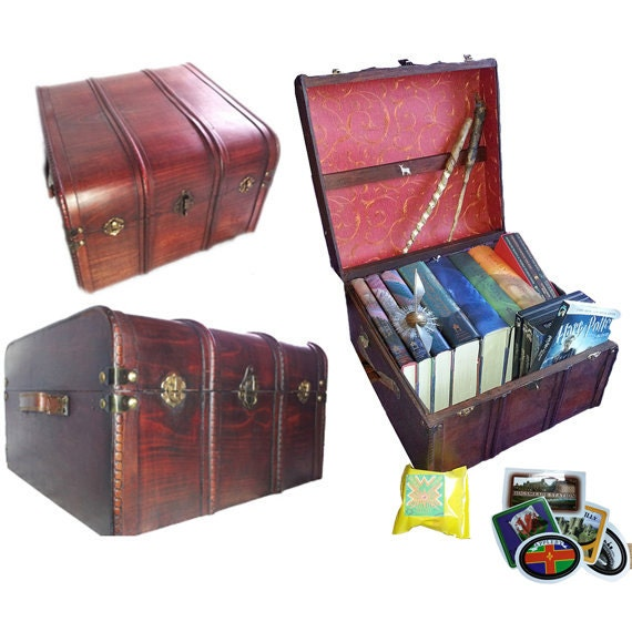 Harry Potter Book Chest : Hogwarts patronus book and dvd trunk all wood brass