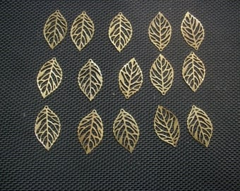 25 Skeleton Leaf Charms in Bronze or Silver Tone Metal