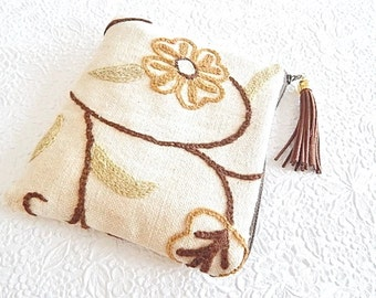 Upholstery pouch,  brown ivory crewel purse, embroidered purse, zipper pouch, lined clutch, fashion accessory, womens accessory