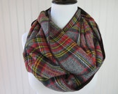 Gray Plaid Infinity Scarf - Tartan Plaid Flannel Scarf - Tartan Plaid Scarf - Red, Gray & Yellow Tartan - Winter Scarf - Women's Scarf