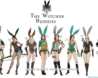 Witcher bunnies Mini Print