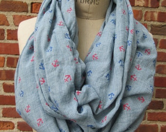 Blue infinity scarf Chambray Anchor Print Nautical Trendy Loop Cowl Boho Chic Soft Lightweight Summer Beach Fashion Accessory Gift for Her
