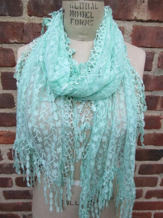 thin mint floral lace scarf sash boho chic wrap sheer fringed
