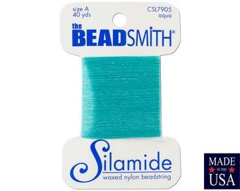 Aqua Silamide Waxed Nylon Beadstring Size A (40 Yards) CSL7905