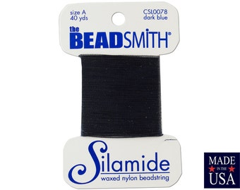 Dark Blue Silamide Waxed Nylon Beadstring Size A (40 Yards) CSL0078