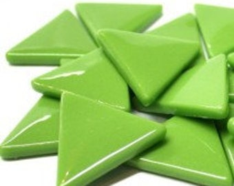 15 Bright Green Triangle Shaped Glass Mosaic Tiles