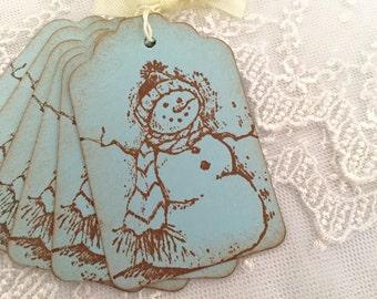 Snowman Tags Christmas Tags Winter Blue