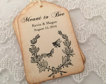 Meant to Bee Tags Wedding Tags Personalized Honey Tags