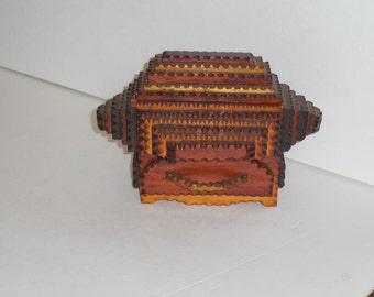 Unique Well Carved Tramp Art Box