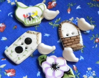 Four Garden Buttons & 4 tiny vintage bird buttons FREE SHIPPING