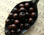 Dark Brown Wooden Beads - SALE Over 300 - 9mm to 11mm IRREGULAR SIZES Glossy Dark Coffee Wood Beads (WBD0070-I)