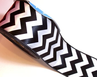 Chevron Ribbon, White and Black Satin Chevron Wired Ribbon 2 1/2 inches wide x 25 Yards, Offray Ribbon, SECOND QUALITY FLAWED