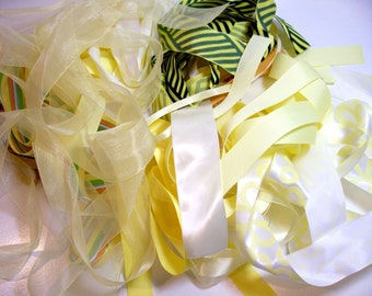 Bag of Assorted Yellow Ribbon and Trim Scraps x 1/4 pound, Yellow Ribbon