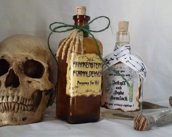 Dr Jekyll Mr. Hyde HEMLOCK and Frankenstein's formaldehyde potion poison MONSTER bottle props