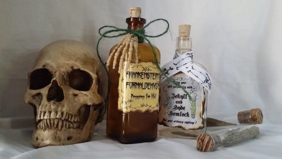 Dr Jekyll Mr. Hyde HEMLOCK and Frankenstein's formaldehyde potion poison MONSTER bottle props