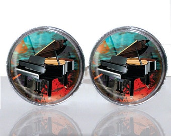 Round Glass Tile Cuff Links - Soulful Piano CIR161