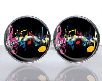 Round Glass Tile Cuff Links - Colorful Music CIR158