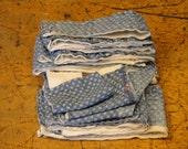 Vintage Blue Calico Quilt Scrap Bundle | Old Quilt Scrap Pieces