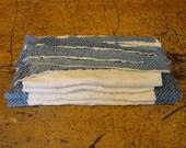 Vintage Blue Calico Quilt Scrap Bundle | Old Quilt Scrap Pieces | Vintage Quilt Squares