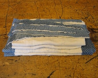 Vintage Blue Calico Quilt Scrap Bundle | Old Quilt Scrap Pieces | Vintage Quilt Squares