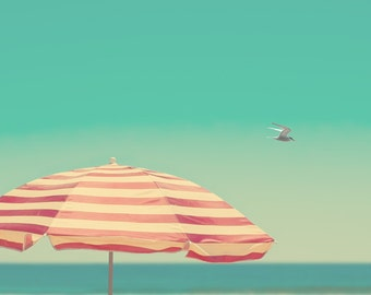 Beach umbrella, red and white stripes, coastal art, seabird, blue horizon, ocean photography, turquoise sky, relax, meditation room