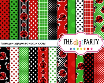 ladybug digital paper printables scrapbook papers printable ladybugs instant download commercial use