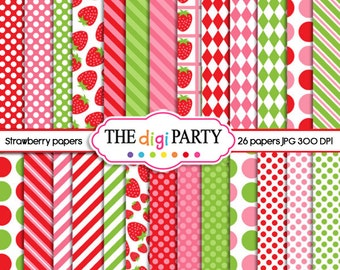 strawberry digital paper scrapbook printable red pink green instant download commercial use