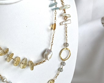 Aqua Marine - Baroque Pearls - Keishi Pearls - Gold Necklace - Statement Necklace