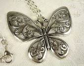 Large Butterfly Pendant with a Rolo Link Chain Necklace