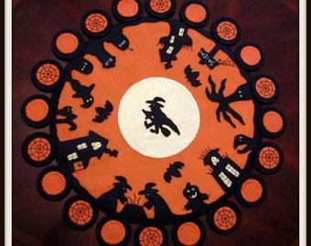 "Hand Stitched 24"" Original Designed Halloween ""All Hallow's Eve"" Black Silhouette Primitive - Folk Art - Penny Rug - Table Mat - Wool Felt"