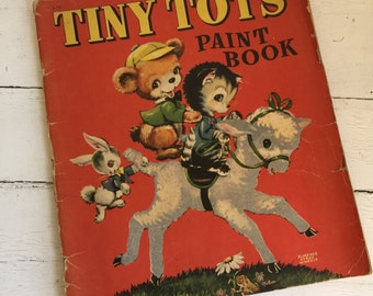 Vintage Tiny Tots Paint Book - 1940s Coloring Book - Large Format - Adorable